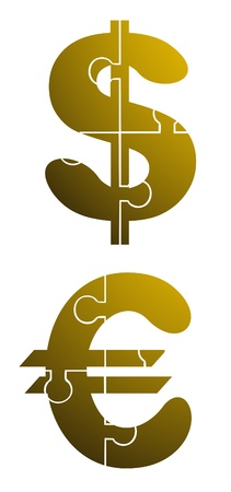 Golden dollar and euro Vector