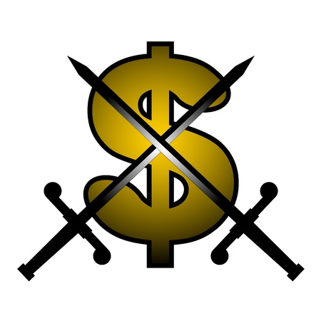 booming: Gold dollar and two swords Illustration