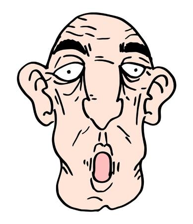old man cartoon: Old man cartoon face Illustration