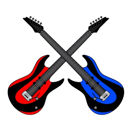 Red and blue guitars Stock Vector - 11821970