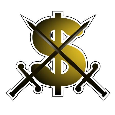 booming: Dollar emblem design Illustration