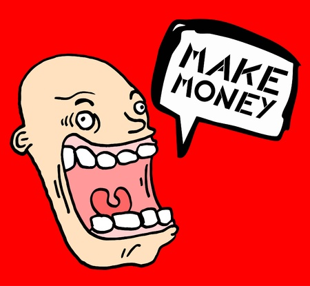 booming: Make money funny comic face Illustration
