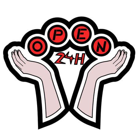 Open 24h icon Stock Vector - 11821866