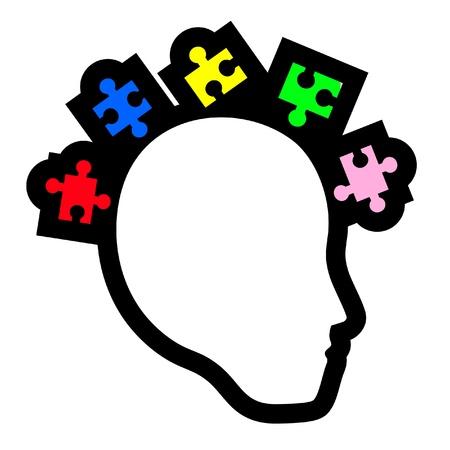 Kleur puzzel gezicht Vector Illustratie