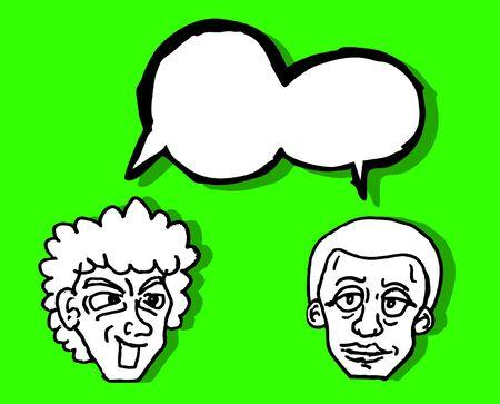 two friends talking: Illustration of two friends talking