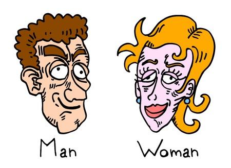 Comic trekking van lelijke man en vrouw Stock Illustratie