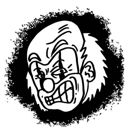 growling: Draw of mad clown cartoon Illustration