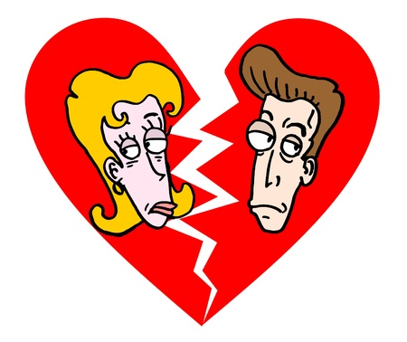 comic duo: Draw of cartoon broken love Illustration