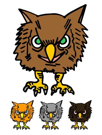 Cartoon draw of funny owl Vector