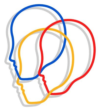 Creatief ontwerp van personen geconfronteerd met het pictogram Vector Illustratie