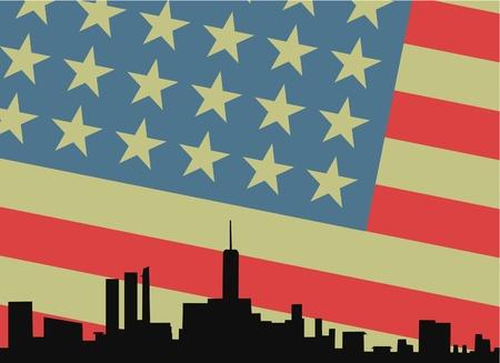 american city: Vintage american city Illustration