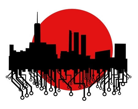 industrialization: Tech city icon Illustration