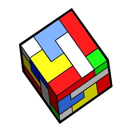 quadrant: Creative color pieces cube Illustration
