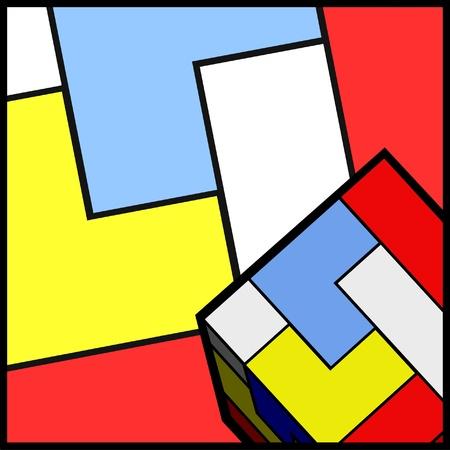 quadrant: Color cube figures background Illustration