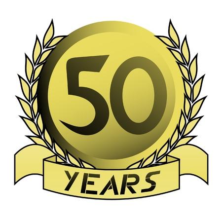 50th gold emblem Vectores