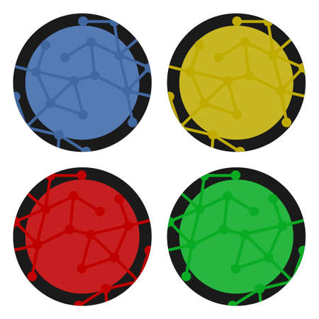 original circular abstract: Four color icons Illustration