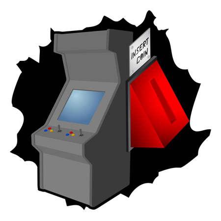 in insert: Insert coin retro arcade machine Illustration