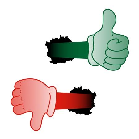 fouten: Groene en rode handen Stock Illustratie