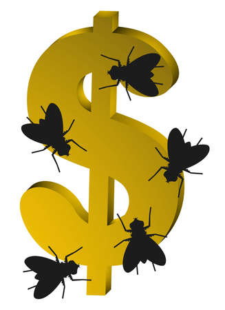 Golden dollar and flies Stock Vector - 12748265
