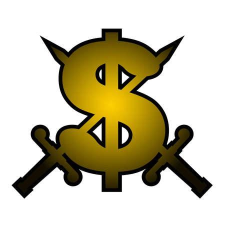 negotiating: Gold dollar emblem