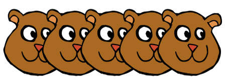 Many bear faces cartoon Vector