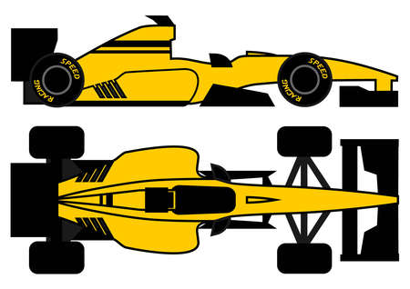 Yellow racing car Stock Vector - 12748425