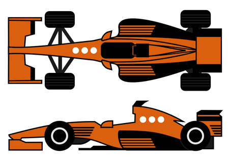 formula one racing: Orange racing car Illustration