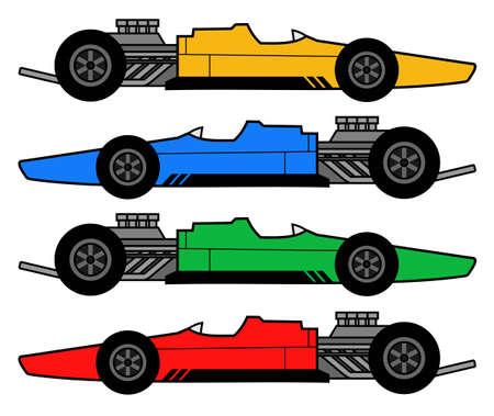 Color retro racing cars Stock Vector - 12811383