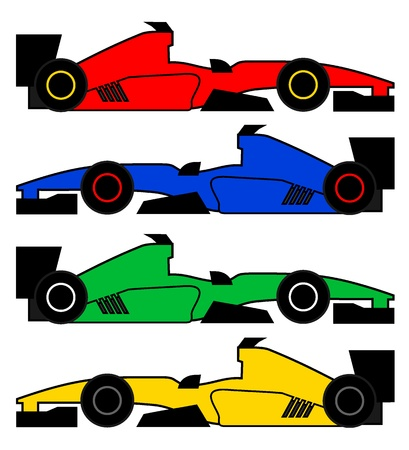 formula one racing: Four color racing cars Illustration