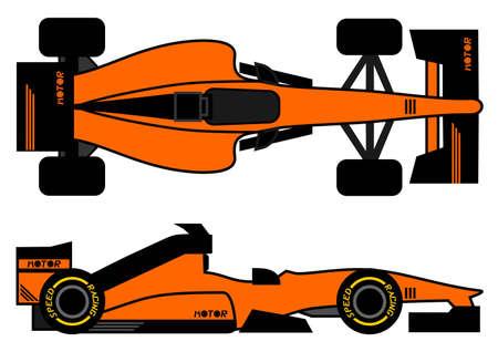 Orange racing car Illustration