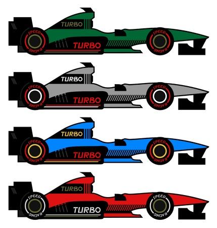 aerodynamics: Four racing cars Illustration