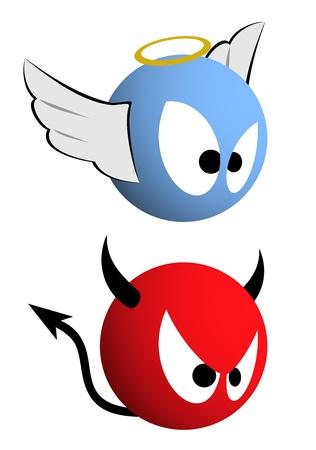 diablo y angel: Bueno y lo malo Vectores