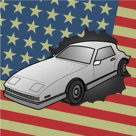 American travel car Stock Vector - 13319750