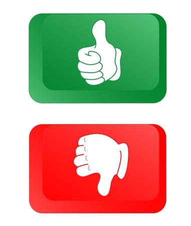 falso: Los botones verde y rojo Vectores