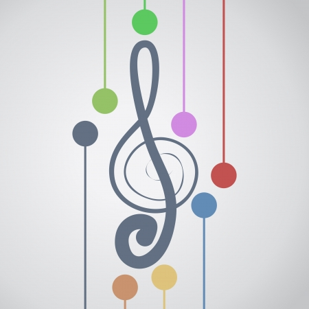 musical staff: Music color art Illustration