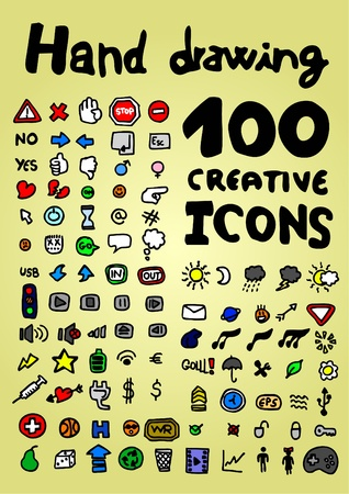 Hand drawing 100 color creative icons Vector