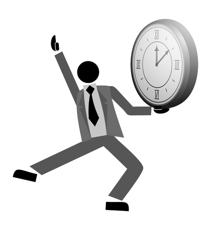 booming: Business man dance and clock