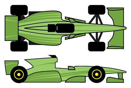 formula one racing: Green racing car