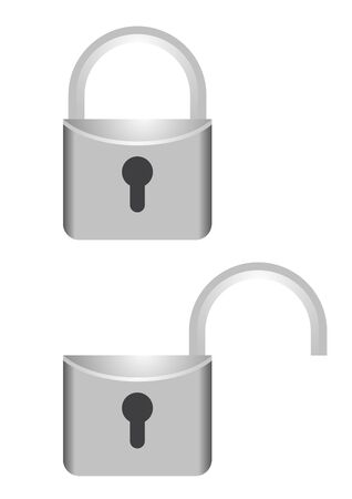 Chrome open and close lock Vectores