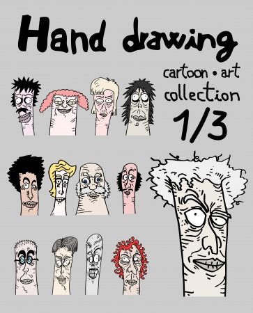 expressive style: Hand drawing cartoon art collection, one of three