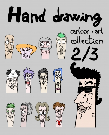 expressive style: Hand drawing cartoon art collection, two of three