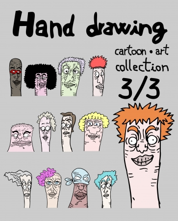expressive style: Hand drawing cartoon art collection, three of three Illustration