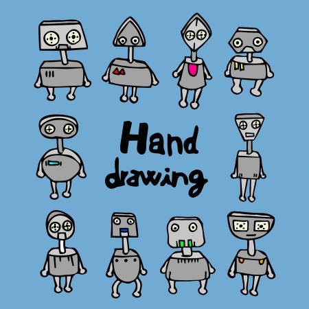 Robot hand drawing Vector