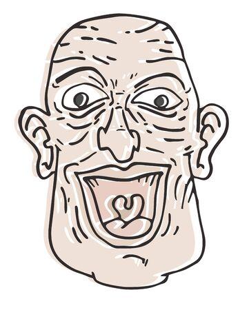 unshaven: Cartoon old man
