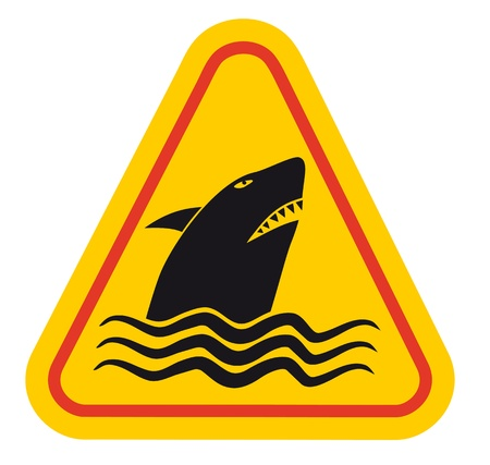 swiming: Shark attact sign Illustration