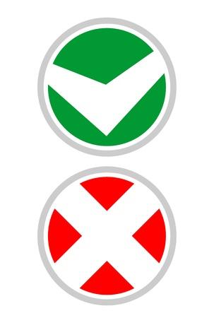 Yes and no circle signs Stock Vector - 14555936