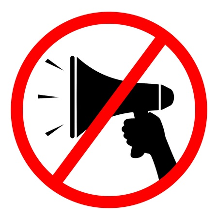 sign not to talk by phone: No sound Illustration