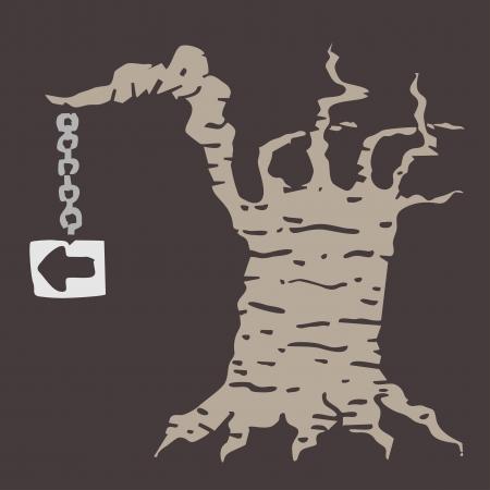 Fantasy tree sign Vector