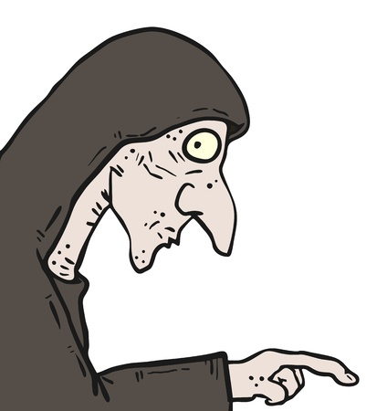 spook: Old cartoon woman