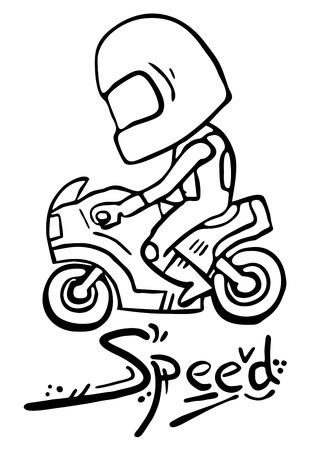 motorized sport: Cartoon motorcycle Illustration